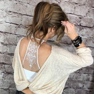Other - Pull-on illusion tattoo racerback white bralette